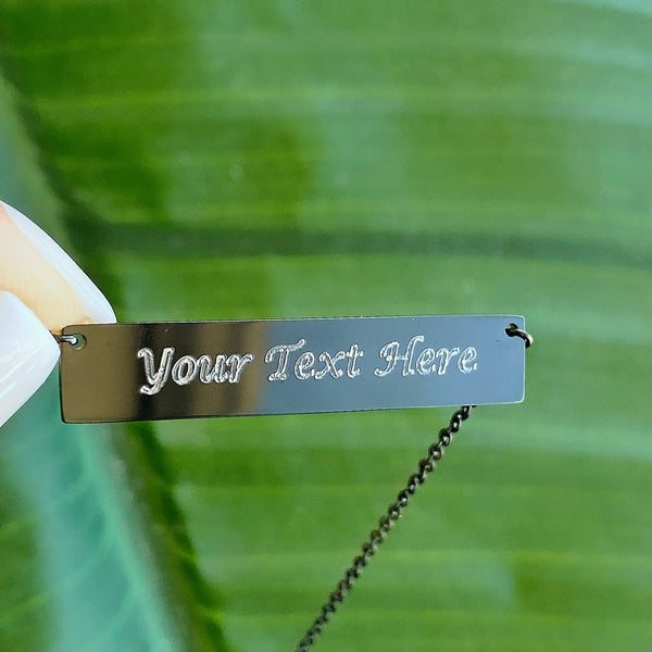 Personalized Bar Necklace Black