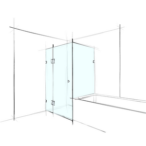 FRAMELESS – SQUARE CORNER SET-IN OVER BATH