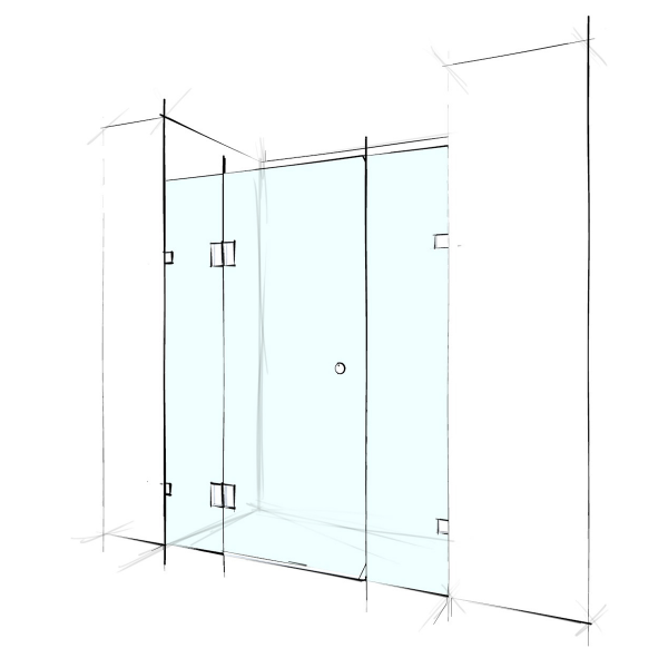 FRAMELESS – WALL TO WALL 3 PANELS - PRICE STARTING FROM