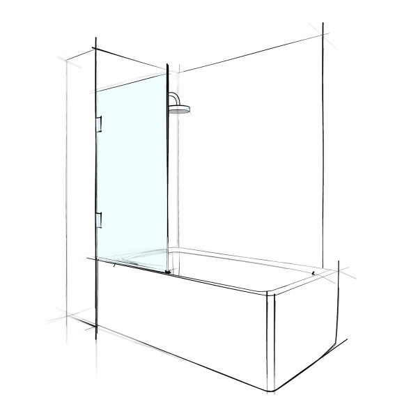 BATHSCREEN – SINGLE SWINGING PANEL - PRICE STARTING FROM