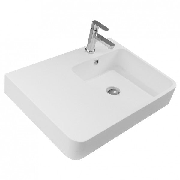 LUCI SOLID SURFACE WALL BASIN – LEFT HAND SHELF W620, D450, H140