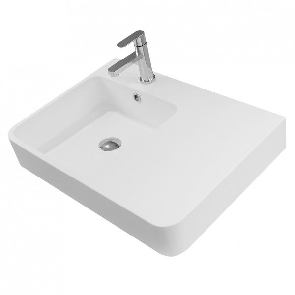 LUCI SOLID SURFACE WALL BASIN – RIGHT HAND SHELF (W620, D450, H97)