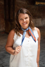 Shop SIENNA COLOR BLOCK  SCARF IN ORANGE/BLUE -- As You Go Boutique