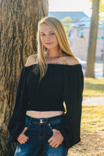 BLACK OFF THE SHOULDER SMOCKED TOP