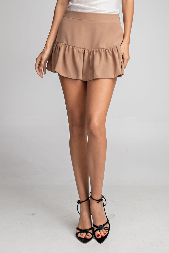 HIGH WAISTED RUFFLED SKORT IN TAUPE