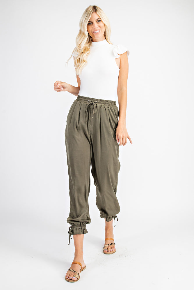 ELASTIC WAIST RUFFLE BOTTOM PANTS