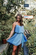 SANTORINI DRESS IN BLUE/WHITE