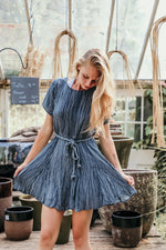 FRESH START DRESS IN DUSTY NAVY - As You Go Boutique