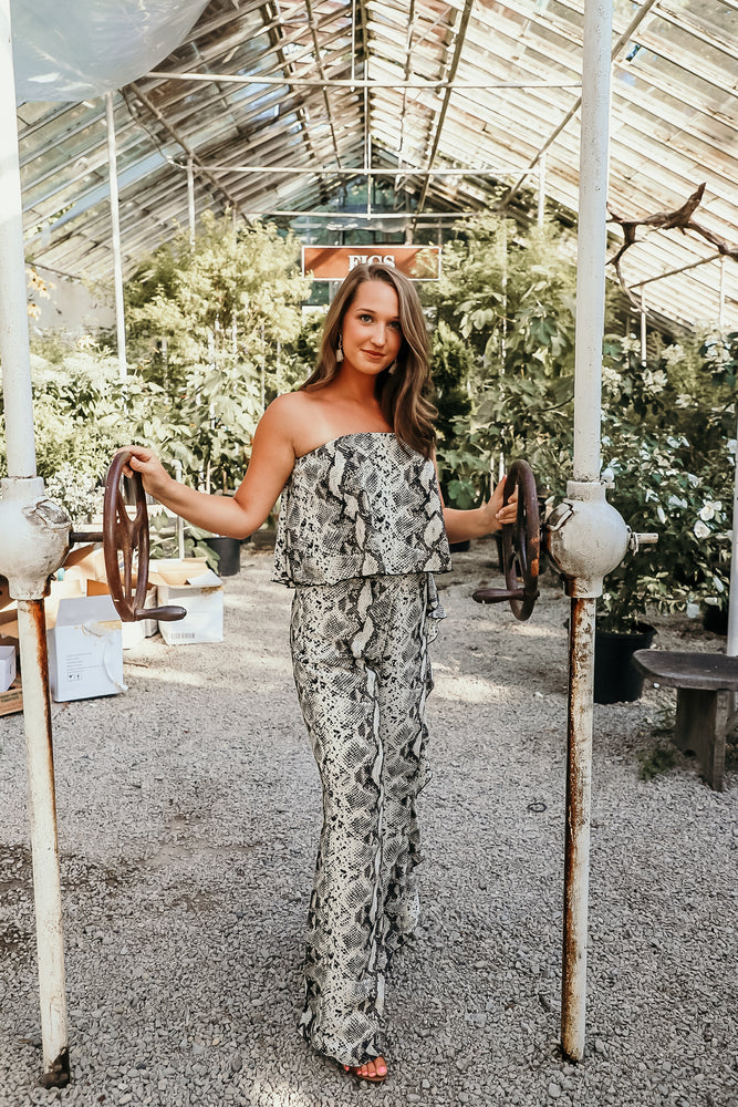 FRIDAY NIGHT JUMPSUIT IN SNAKESKIN - As You Go Boutique