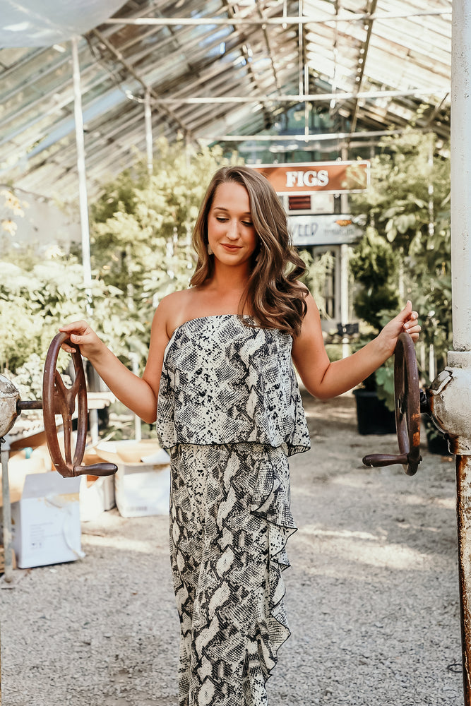 Shop FRIDAY NIGHT JUMPSUIT IN SNAKESKIN -- As You Go Boutique