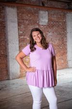 Shop CALI DREAMIN' PEPLUM TOP IN LAVENDER -- As You Go Boutique