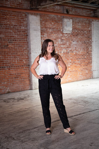 Shop LOVE AT FIRST SIGHT HIGH-WAISTED LACE PANTS IN BLACK -- As You Go Boutique