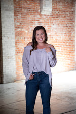 Shop BEST FRIEND COLD SHOULDER TOP IN GREY -- As You Go Boutique