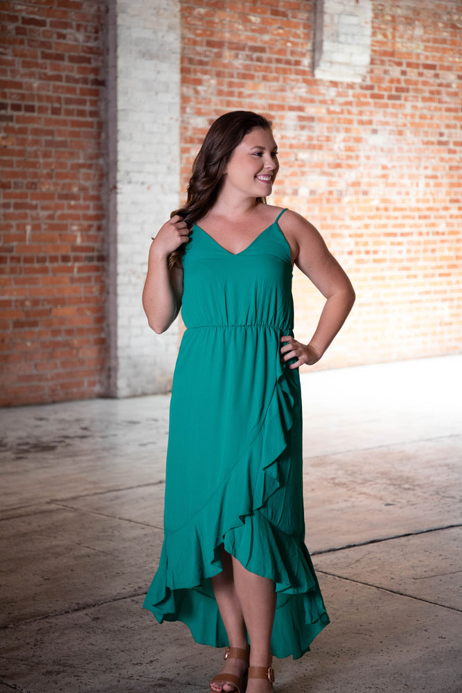 Shop MAIN EVENT HIGH-LOW DRESS IN GREEN -- As You Go Boutique