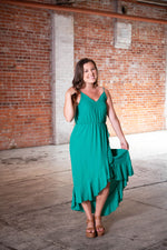 MAIN EVENT HIGH-LOW DRESS IN GREEN