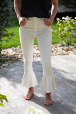 FRILL AND FLARE JEANS IN WHITE DENIM
