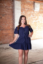 Shop WITH LOVE OFF-SHOULDER DRESS IN NAVY -- As You Go Boutique