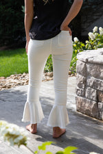 Shop FRILL AND FLARE JEANS IN WHITE DENIM -- As You Go Boutique