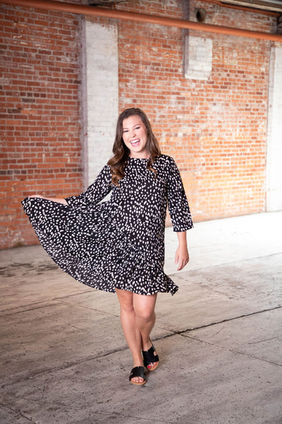 Shop DOT SWING DRESS IN BLACK/WHITE DOT -- As You Go Boutique
