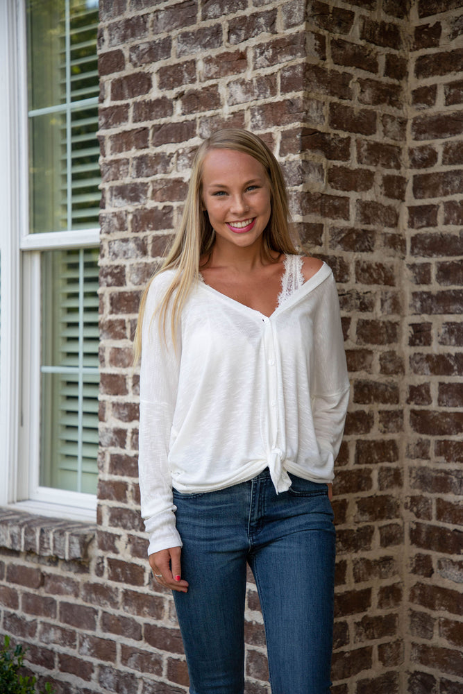 ON A WHIM BUTTON UP CARDIGAN IN IVORY - As You Go Boutique