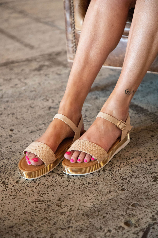 Shop OLIVIA SANDALS IN TOAST/GOLD -- As You Go Boutique