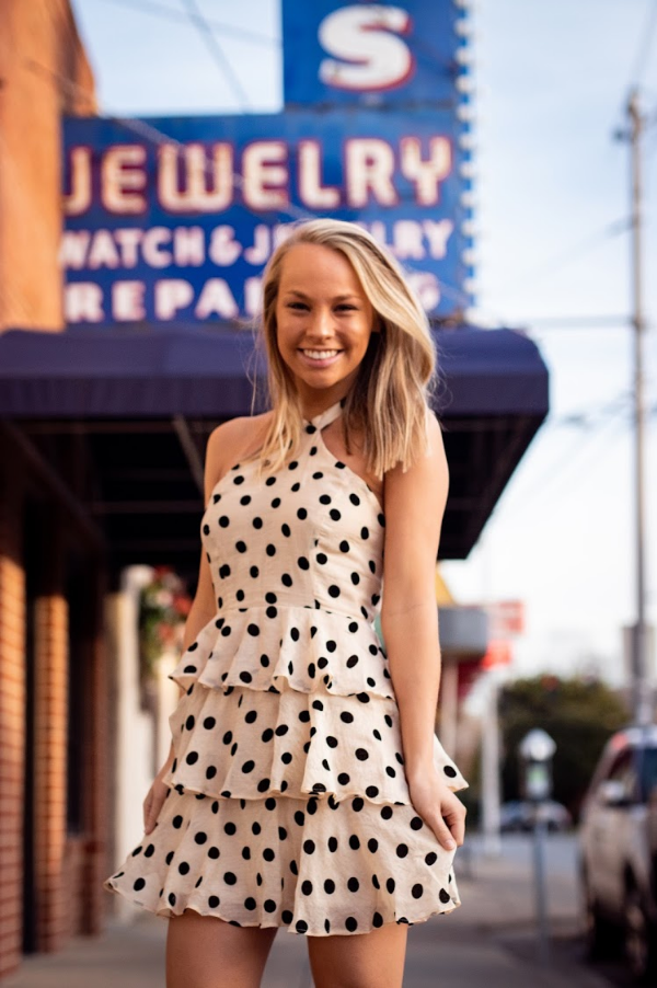 Shop POLKA DOT HALTER DRESS -- As You Go Boutique