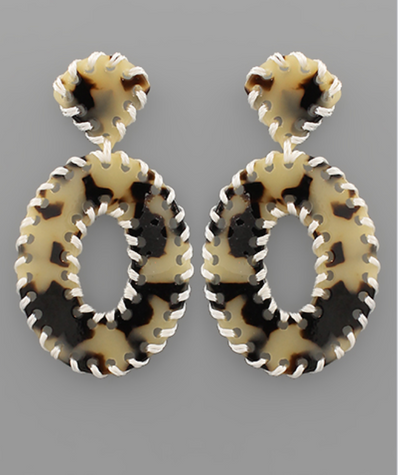 Shop STITCH OVAL EARRINGS -- As You Go Boutique