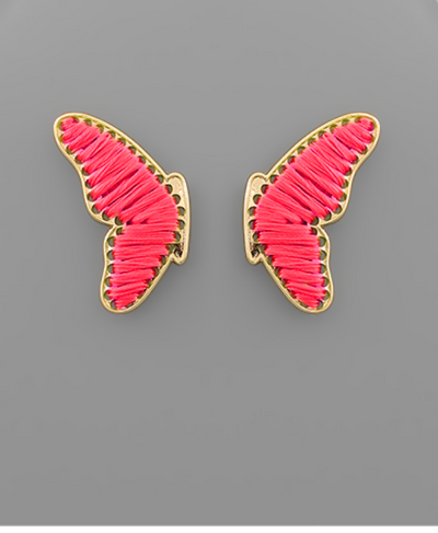 Shop THREADED BUTTERFLY EARRINGS IN PINK -- As You Go Boutique