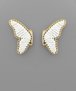 Shop THREADED BUTTERFLY EARRINGS IN WHITE -- As You Go Boutique