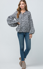 CHEETAH PUFF SLEEVE TOP - As You Go Boutique