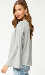 Shop GREY RUFFLE EDGES TOP -- As You Go Boutique