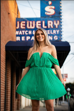 EMERALD OPEN SHOULDER DRESS