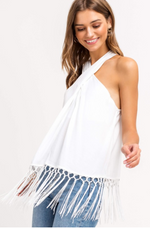 Shop HALTER FRINGE TOP -- As You Go Boutique