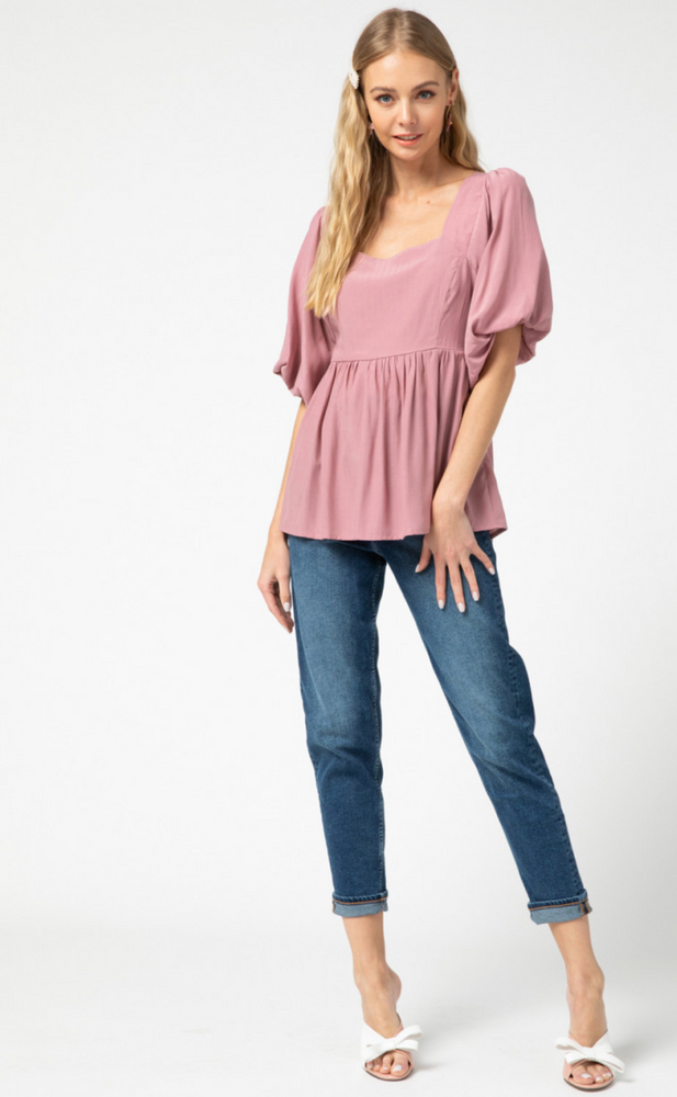 SQUARE NECK TOP IN MAUVE