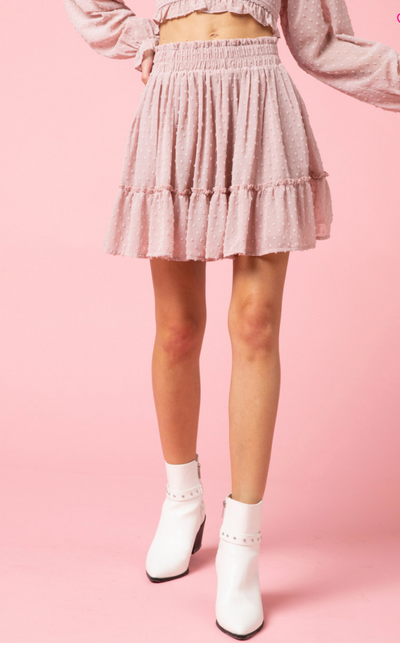 Shop DOT SKIRT IN DUSTY ROSE -- As You Go Boutique