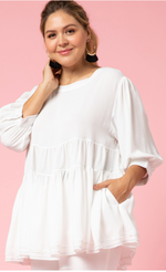 TIERED SMOCKED TOP IN WHITE