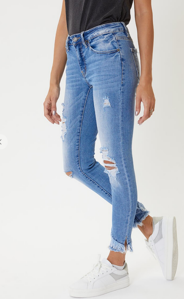 KAN CAN FRAYED ANKLE SKINNY JEANS