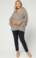LEOPARD PRINT PUFF SLEEVE TOP