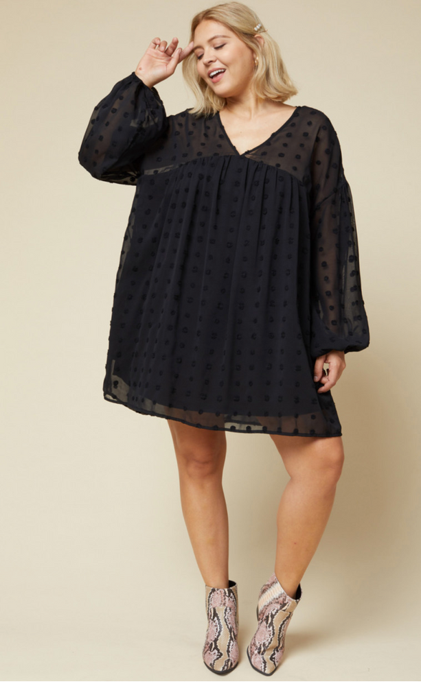 SWISS DOT BABYDOLL DRESS IN BLACK