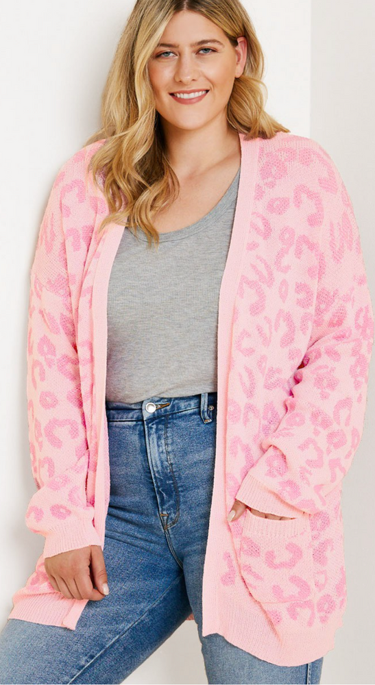 LEOPARD CARDIGAN IN PINK
