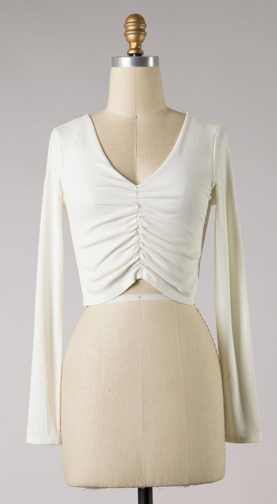 RUCHED LONG SLEEVE CROP TOP IN IVORY