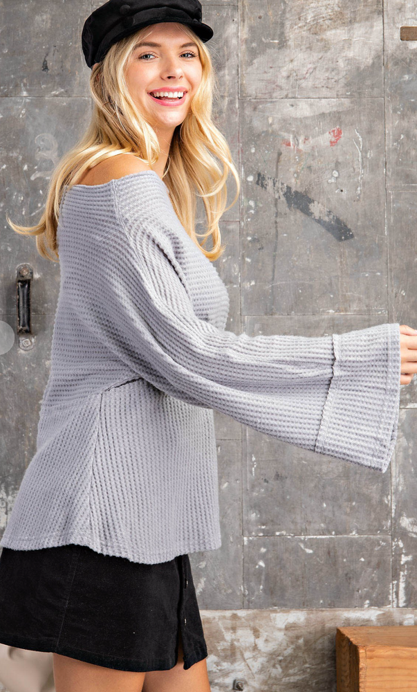 OFF THE SHOULDER BRUSHED WAFFLE TOP