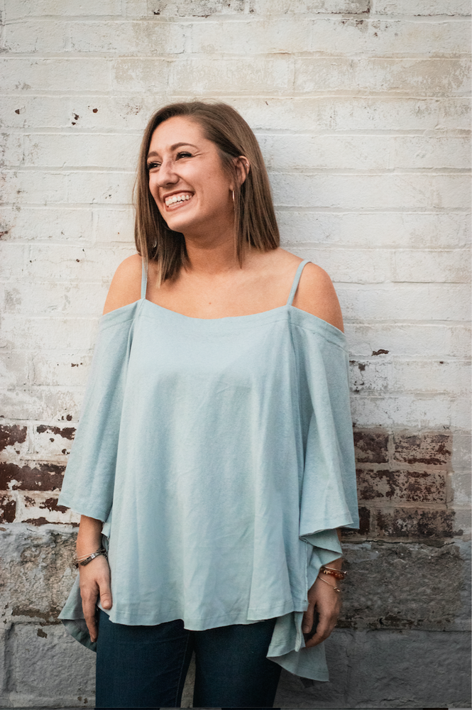 Shop CASUAL FRIDAY TOP IN DUSTY BLUE -- As You Go Boutique