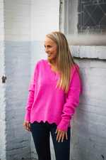 SADIE SCALLOPED SWEATER IN PINK