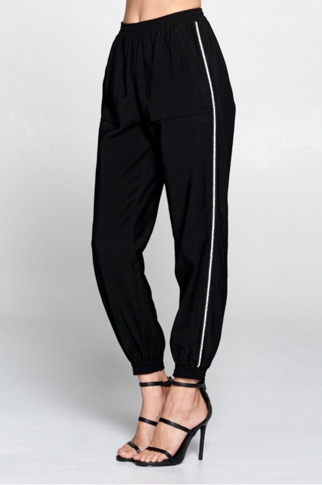 SPARKLE JOGGERS IN BLACK