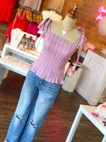 Shop BOW SMOCKED TANK IN DUSTY ROSE -- As You Go Boutique