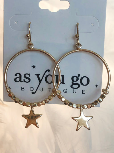 Shop STAR CHARM CIRCLE EARRINGS -- As You Go Boutique