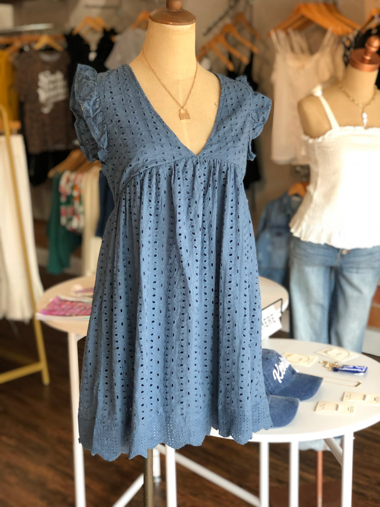 Shop EYELET ROMPER IN STEEL BLUE -- As You Go Boutique