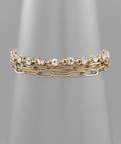 Shop 3 Row Crystal & Chain Link Bracelet -- As You Go Boutique