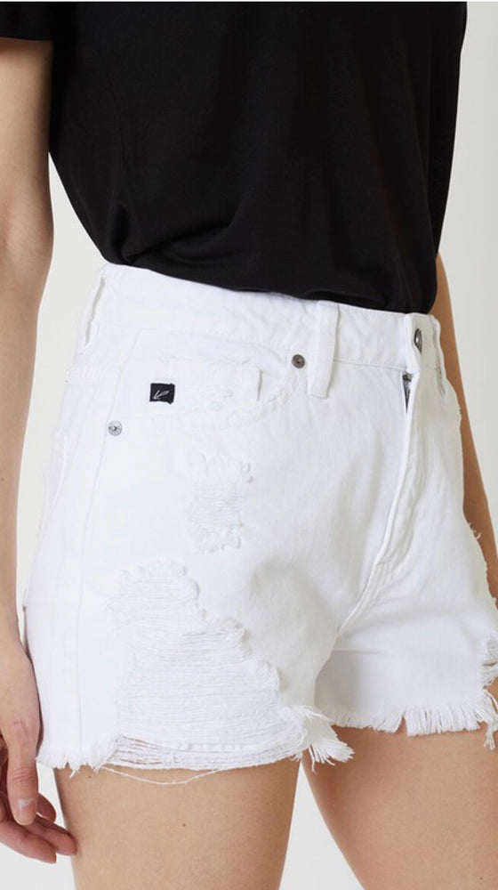 KAN CAN DENIM HIGH RISE SHORTS IN WHITE - As You Go Boutique